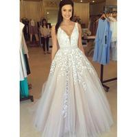 Light Champagne Prom Dresses Long 2020 vestidos de fiesta largos elegantes de gala A Line Lace Tulle V Neck Imported Party Dress