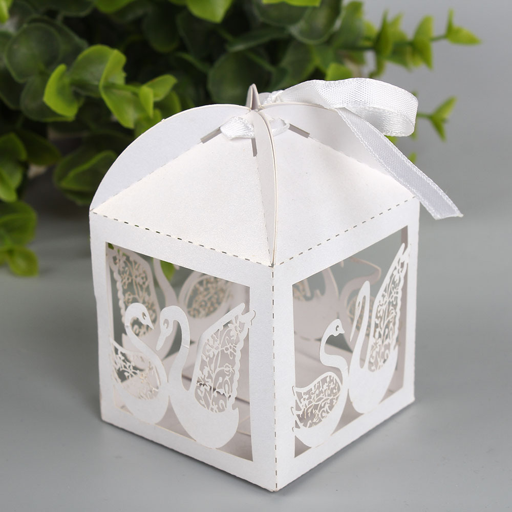 Free shipping Hollow laser Swan Candy BOX Gift Boxes Wedding Party ...