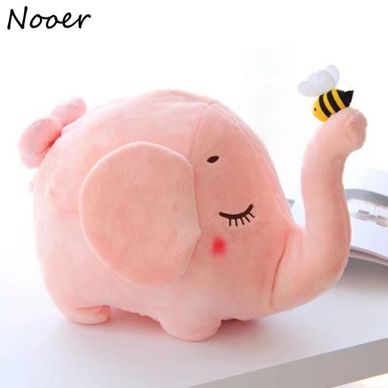 Nooer Lovely Cute Pink Elephant Plush Toy Stuffed Elephant Doll Bed Blanket Kids Toy Birthday Christmas Gift For Children Baby christmas theme figure model lovely plush doll soft cute stuffed toy 15 7 inch