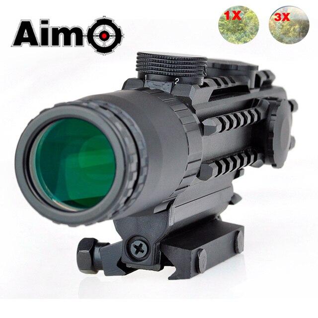 Aim O Airsoft Riflescope 1 3X Magnification Tactical Scope Aluminum Shooting Rifle Softair Telescope AO3033 Hunting Optics