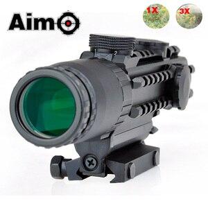Image 1 - Lunette de visée Airsoft 1 3X grossissement portée tactique fusil de tir en aluminium télescope Softair AO3033 optique de chasse