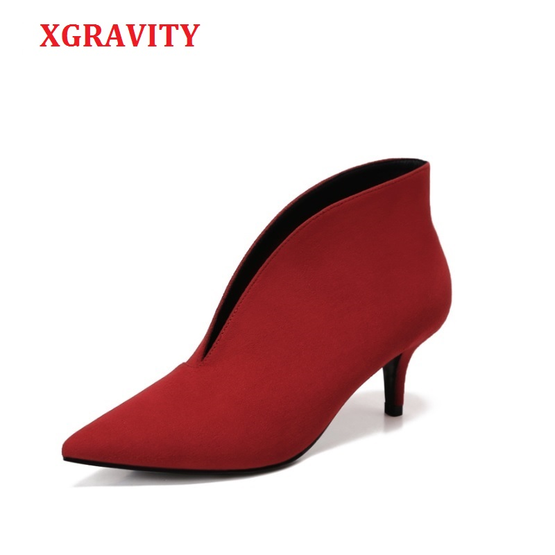 XGRAVITY 2019 Pop Sexy Pointed Toe Girl Thin Heel Woman Shoes Deep V Design Lady Fashion Shoes Elegant European Women Shoes A059