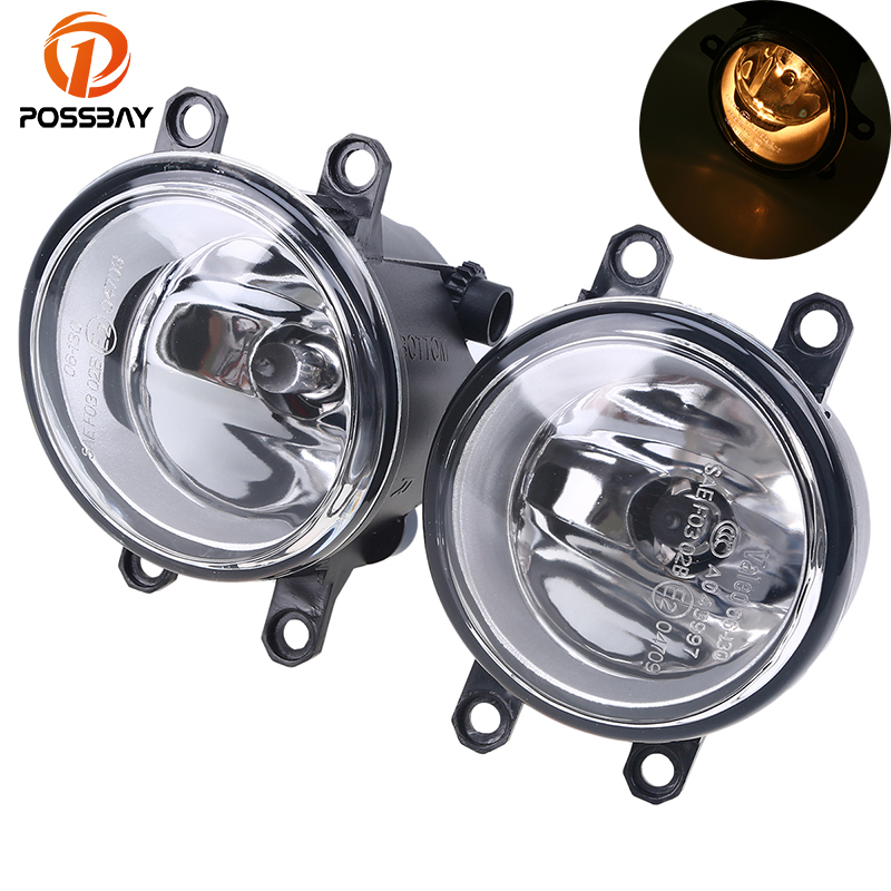 POSSBAY Car Front Fog Lights for Toyota Prius/RAV4/Yaris/Camry/Corolla H11 12V 55W Bulbs Amber Fog Lamps for Lexus LX570/Scion