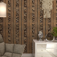 PVC Chinese Style Wallpaper Stone Wood Vintage Wall Paper For Living Room Home Decor Waterproof Papel