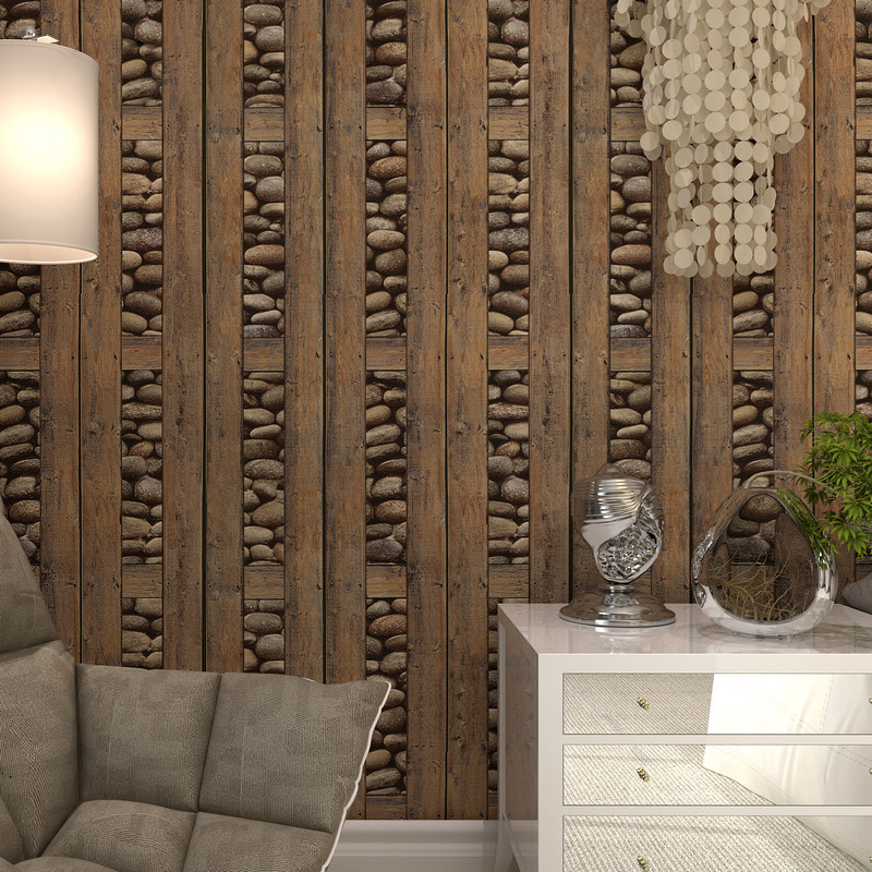 Vintage 3D Stones Wood Grain Wallpaper Roll For Walls PVC Waterproof Deep Embossed Wallpaper Contact Paper Wall Paper Home Decor vintage wood grain bark waterproof shower curtain
