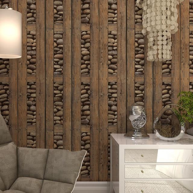 Vintage 3d Stones Wood Grain Wallpaper Roll For Walls Pvc