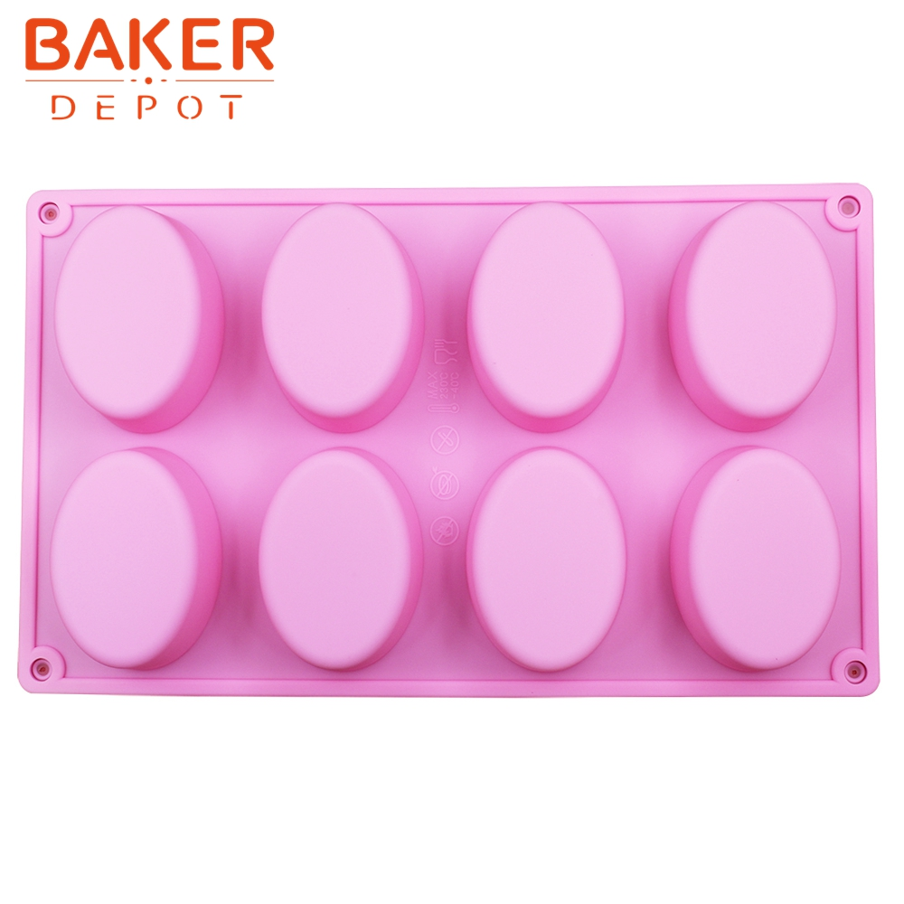 cake bakeware mold Handmade soap mold 8 oval grooves silicone pastry DIY moulds egg shape  SICM-008-13