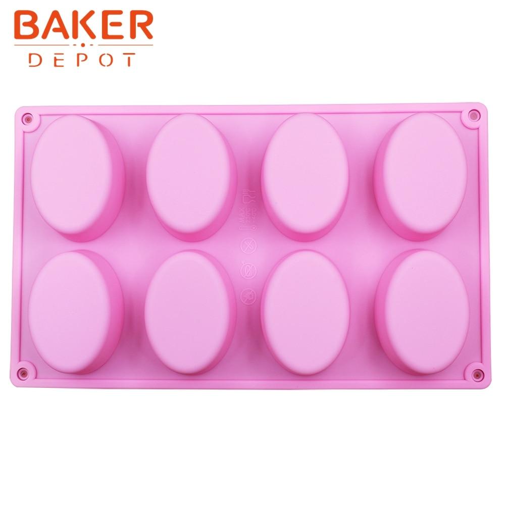 tårta bakverk mögel Handgjord tvålmögel 8 ovala spår silikonbageri DIY mögel äggform SICM-008-13