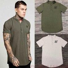 2018  summer men's cotton silk siksilk t-shirt Kanye West T-shirt short-sleeved hip hop T-shirt top men's Longline T-shirt with недорого