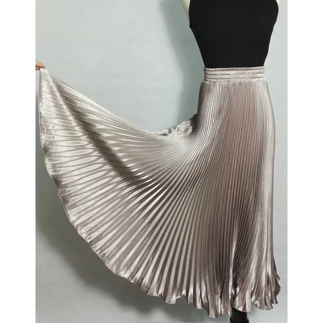 2017 Summer New Fashion Vintage Metallic Bling Bling Glitter Gold Pleated A Line Women Long Maxi Flare Skater Party Skirt