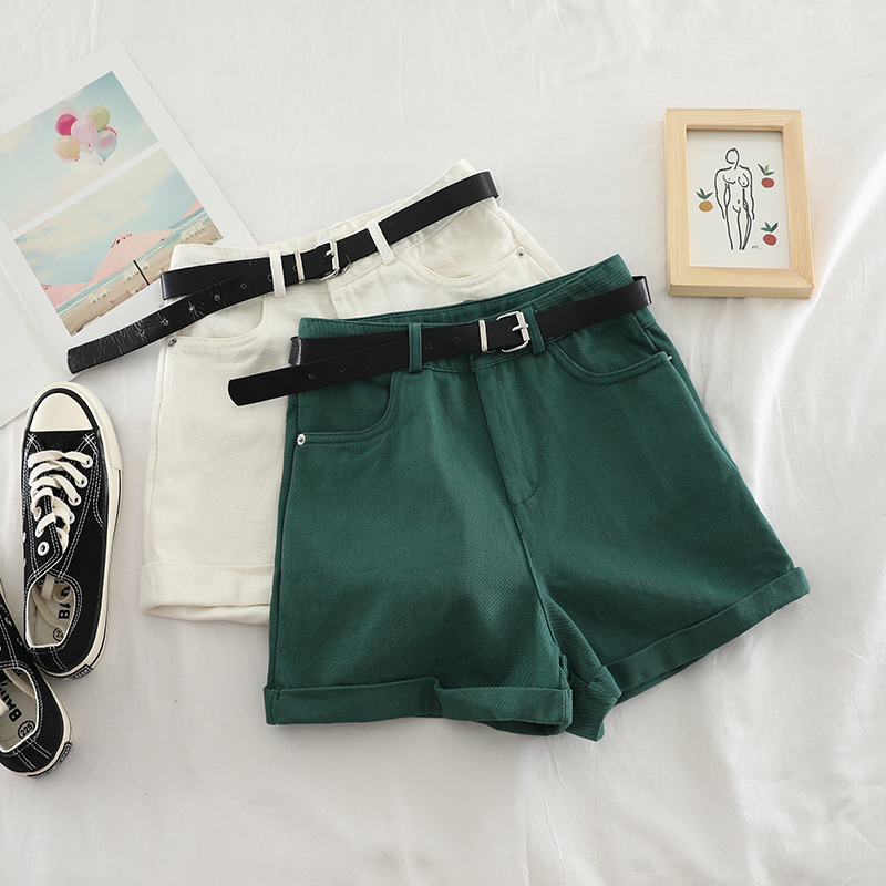 Korean Summer 2019 Women Hot Shorts Sexy High Waist Red Green Black White Female Shorts Elegant Double Pocket Casual Shorts