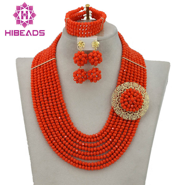 Orange Coral African Beads Jewelry Set Nigerian Beads Jewelry Set for Wedding 2017 Fashion Jewelry Set Free Shipping GS379