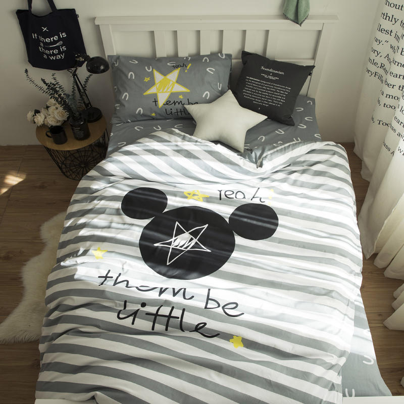 Striped Mickey Mouse bedding set twin size duvet covers for kids bedroom decor cotton bed sheets home textile single white black