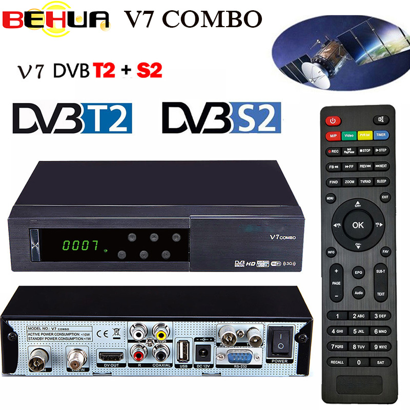 [Genuine] V7 Combo receptor HD Satellite Receiver DVB-S2 DVB-T2 Support PowerVu Biss Key Newcam Youtube DVB S2 + T2 TV Receiver цена