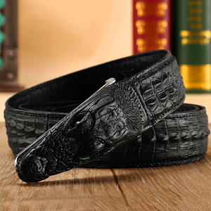 Image 3 - Cinto de couro masculino, cinto de couro genuíno com estampa de crocodilo, casual, presente para homens
