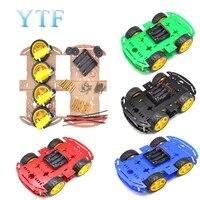 1 pçs azul motor robô inteligente carro chassis fabricação eletrônica diy kit velocidade caixa de bateria codificador 4wd 4 roda carro