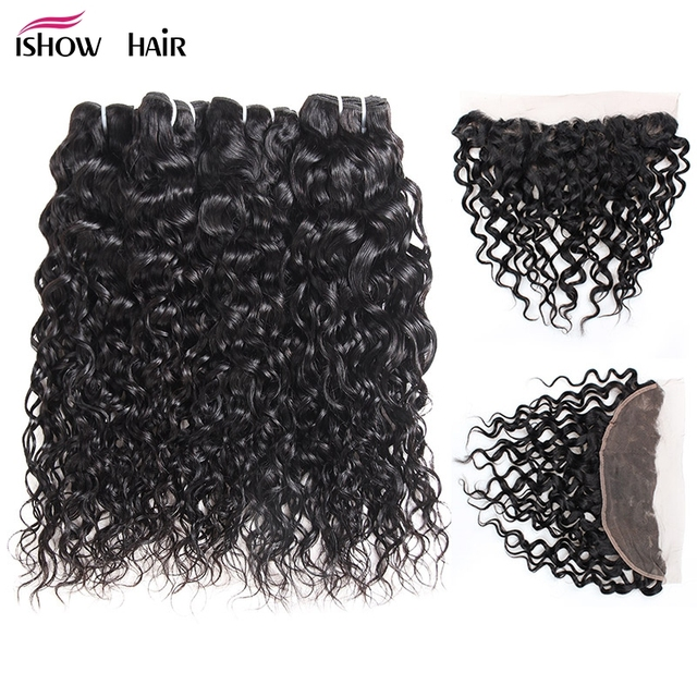 Ishow Ear To Ear Lace Frontal Closure With Bundles Peruvian Water Wave Human Hair 4 Bundles With Frontal Non Remy Hair Extension
