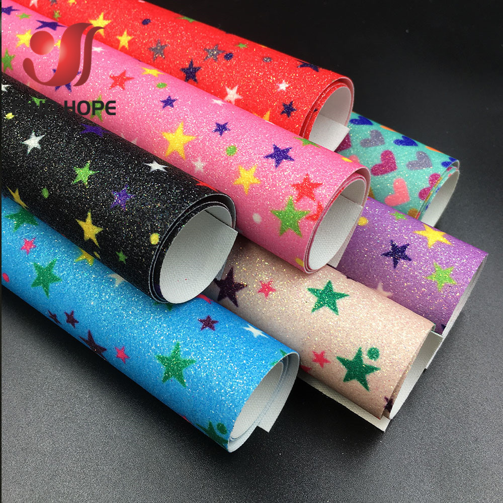A4 Faux Glitter Leather Fabric DIY Fabric Material Sparkle Craft Party Decor
