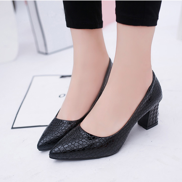 LLZCY Women Pumps 6CM Pointed Toe High Heels Block Heel Shoes for Woman  Soft Leather Dress