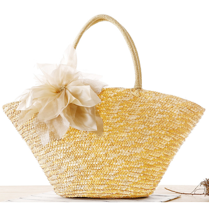 Summer Beach Bag Women Straw Woven Flower Tote Bags 2017 Female Bohemian Style Travling Bags Designer Handbags High Quality handmade flower appliques straw woven bulk bags trendy summer styles beach travel tote bags women beatiful handbags