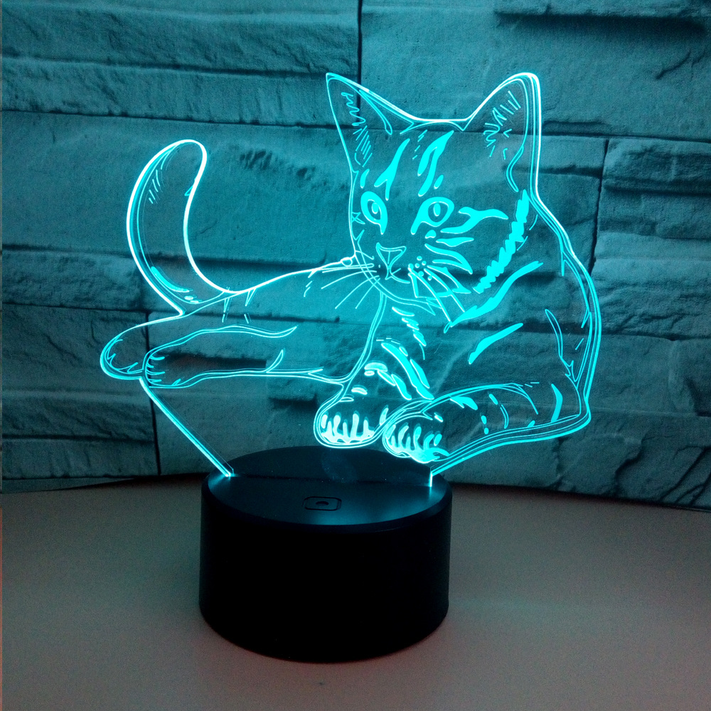 Colorful 3d Voltage Cat 3D Table Lamp Acrylic Vision Stereo Touch Usb Table Lamps For Living
