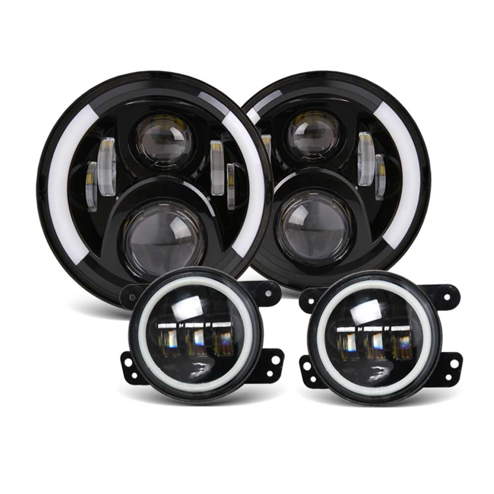 7 Black Silver LED Headlights High Low Beams 4 LED Combo Fog Lights Compatible for Jeep