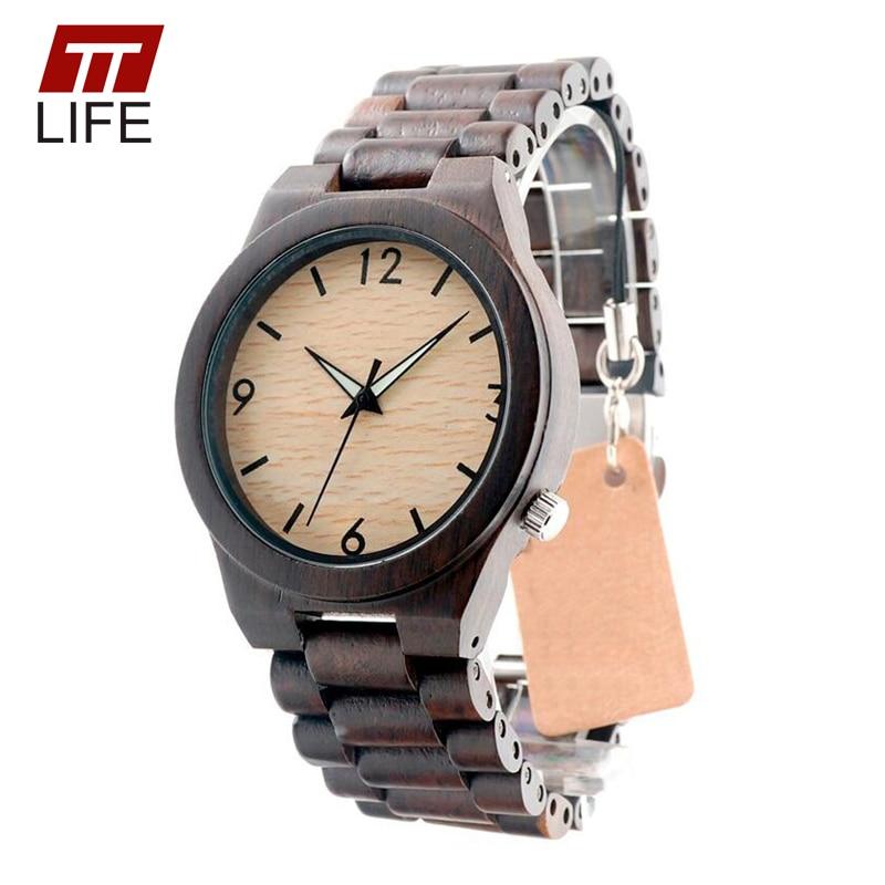 Подробнее о TTLIFE Men Classical Luxury Brand Black Sandal Wood Watch Luminous Hand Black Bamboo Wristwatch Business Full Wood Clock D221 black sandal wood watch for men