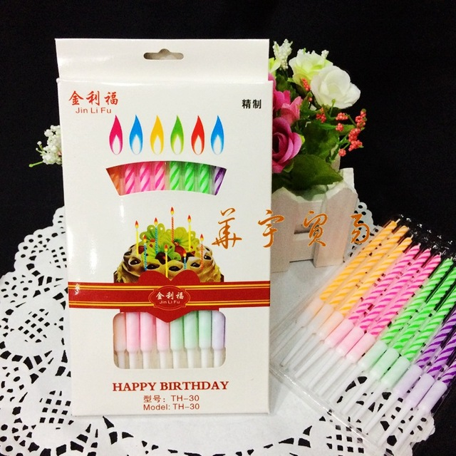 12 x Multi Coloured Flame Birthday Cake Candles Angel Party Novelty