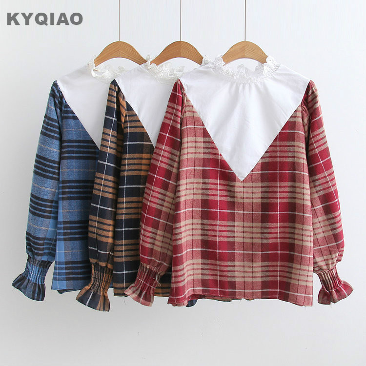 KYQIAO Plaid shirt 2018 mori girls South Korea vintage long sleeve stand collar plaid white patchwork lace blouse shirt blusa