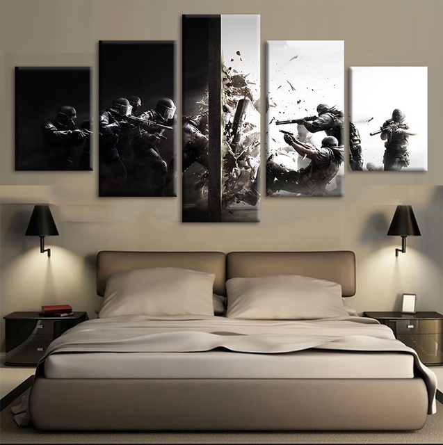 US $16 0  5 Piece Shooting Video Game Tom Clancy's Rainbow Six Siege Poster  Wall Picture for Living Room Wall Decor-in Painting & Calligraphy from