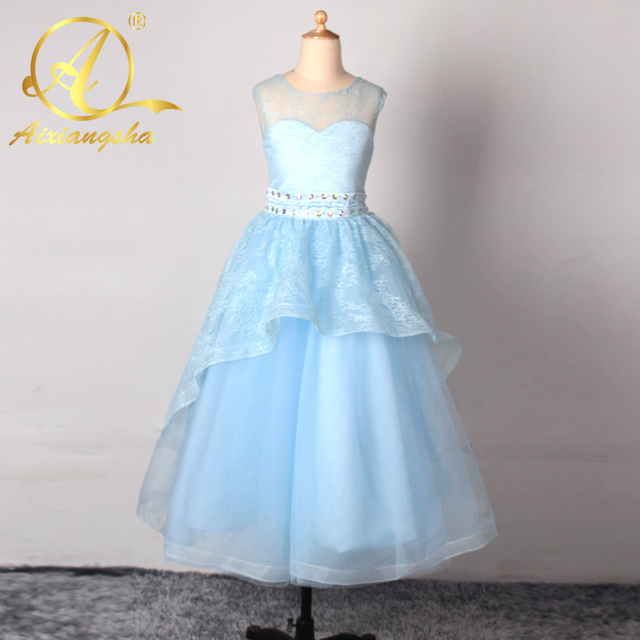 2ed234fd47f Bright Yellow Flower Girl Dress Pageant Ball Gowns for Girls Lace Pearls  Holy Communion Dresses For Weddings 2016 FL34