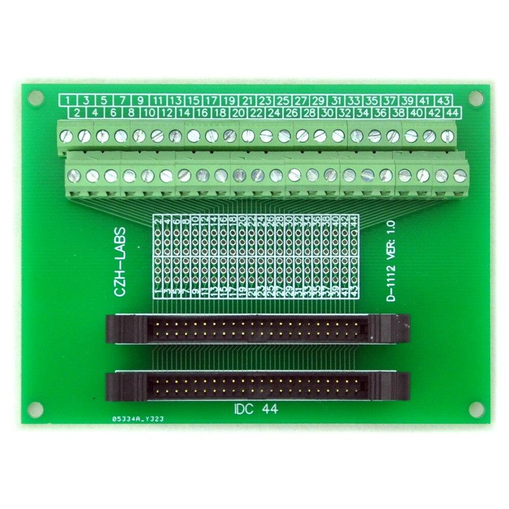 IDC-44 2x22pins 2.0mm Dual Male Header Breakout Board, Screw Terminal Connector.