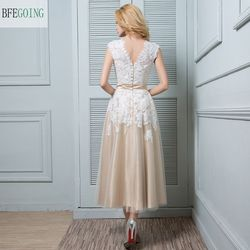 A-line Wedding Dress - Champagne Ankle-length V-neck Lace / Satin / Tulle  Custom made 6