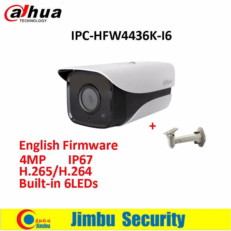 Original Dahua IP Camera DH-IPC-HFW4436K-I6 4MP English Firmware H.265/H.264 Network IR150m WDR Bullet with free bracket dahua 4mp wdr ipc hfw4431e s h 265 fixed lens3 6mm ir40m network waterproof ip67 smart detection bullet ip camera hfw4431e s