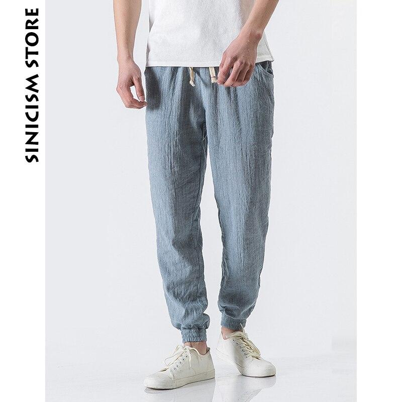 Sinicism Store Plus Size Cotton Linen Harem Pants Mens Jogger Pants 2019 Male Casual Summer Track Pants Trousers(China)