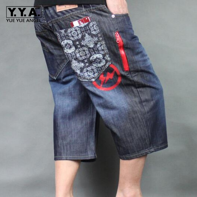 New Arrival High Quality Free Shipping P&P Mens Hip Hop washed embroidery loose denim baggy jeans Shorts Plus Size Boy