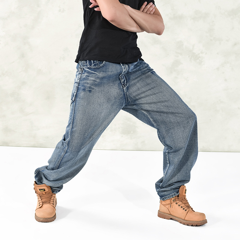 2016 Mens Hip Hop Jeans Man Straight Long Pants Blue Loose Male Denim Trousers Street Dance Movement Brand Jeans Men