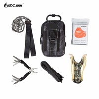 EDC.1991 hohe qualität Outdoor Camping Ausrüstung Klettern Tasche Überleben Kit Paracord Karabiner slingshot Drahtsäge Klappzange
