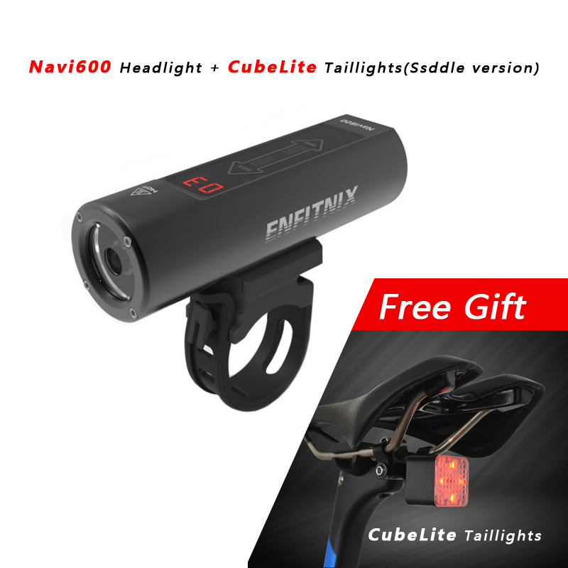 2018 New Light Smart Headlights Enfitnix Navi600 USB Rechargeable Road Mountain Bike Smart Headlights for Bicycle