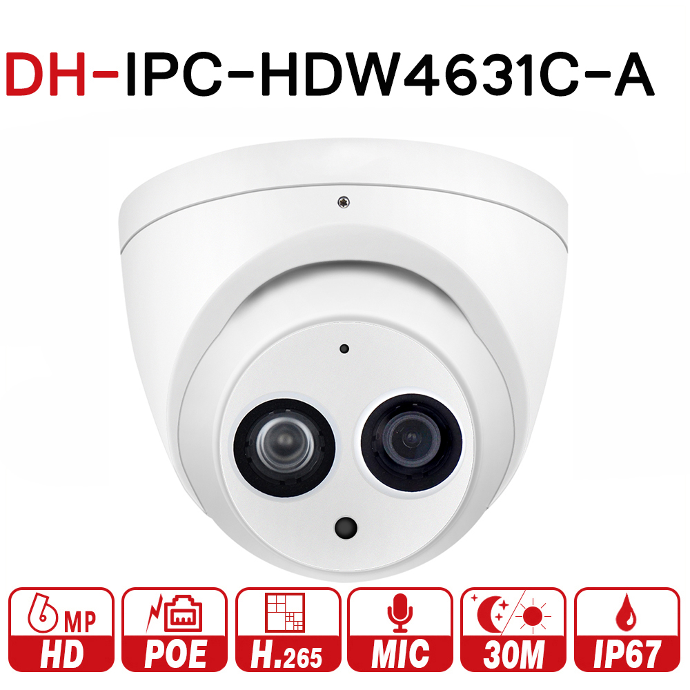 DH IPC-HDW4631C-A with logo 6MP IP Camera HD POE Network Mini Dome Network Camera With Built-in MIC CCTV Camera Metal Case IK10 dahua 2x2mp starlight ir mini dome network camera ipc hdbw4231f e2 m built in mic ip67 ik10 original security ip camera no logo