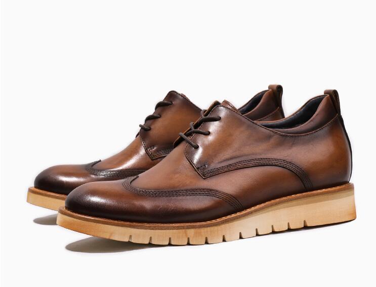 Up Plataforma Esculpida De Handmade Brown Brogues Homens Lace Flats Sapatos Crescente Genuíno Vestido Laranja Dos Altura Masculino Couro Casuais 5PwqxS06