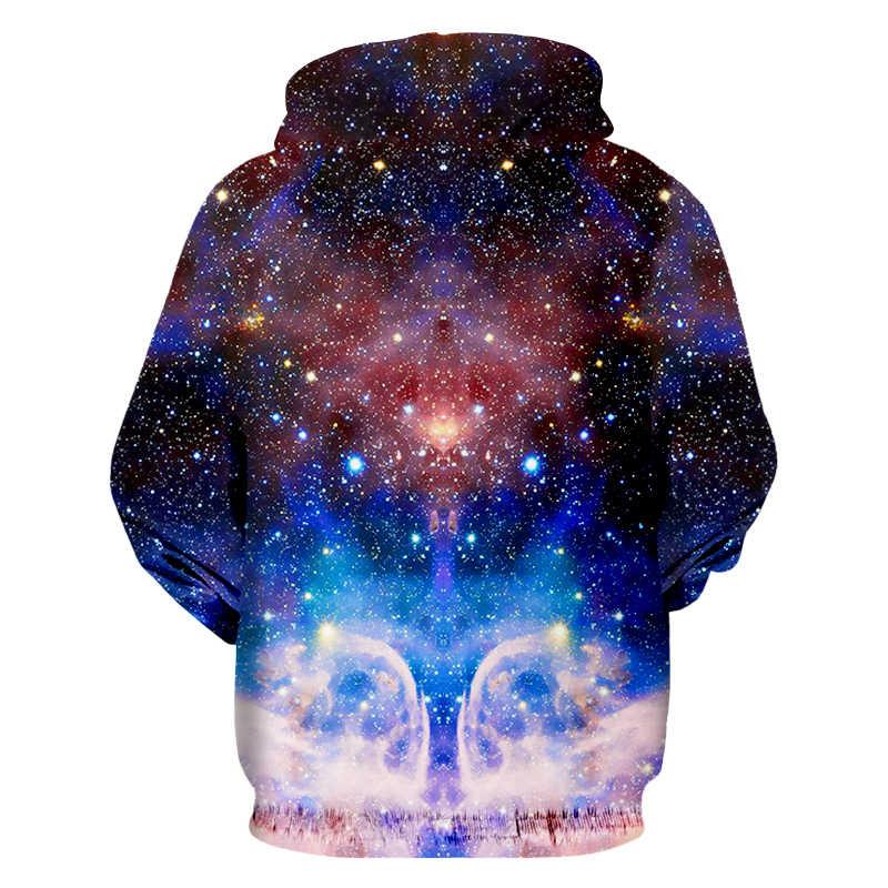 OGKB мужской спортивный костюм для хип-хопа с длинным рукавом с капюшоном куртка Осень Зима Мужчины 3d принт фиолетовый Галактика Космос толстовки на молнии с капюшоном