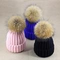 Sombreros de invierno para las mujeres Sólido Volumen Casquillo Que Hace Punto de piel de zorro Bulbo de la bola de Lana de punto Sombrero de la Mujer de la muchacha del Espesamiento cappello vogue
