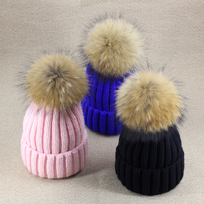 b46cfb7e14a Winter hats for women Solid Volume Knitting Cap fox fur ball Bulb Wool knitted  Hat Woman girl  s Thickening cappello vogue-in Hats   Caps from Mother    Kids