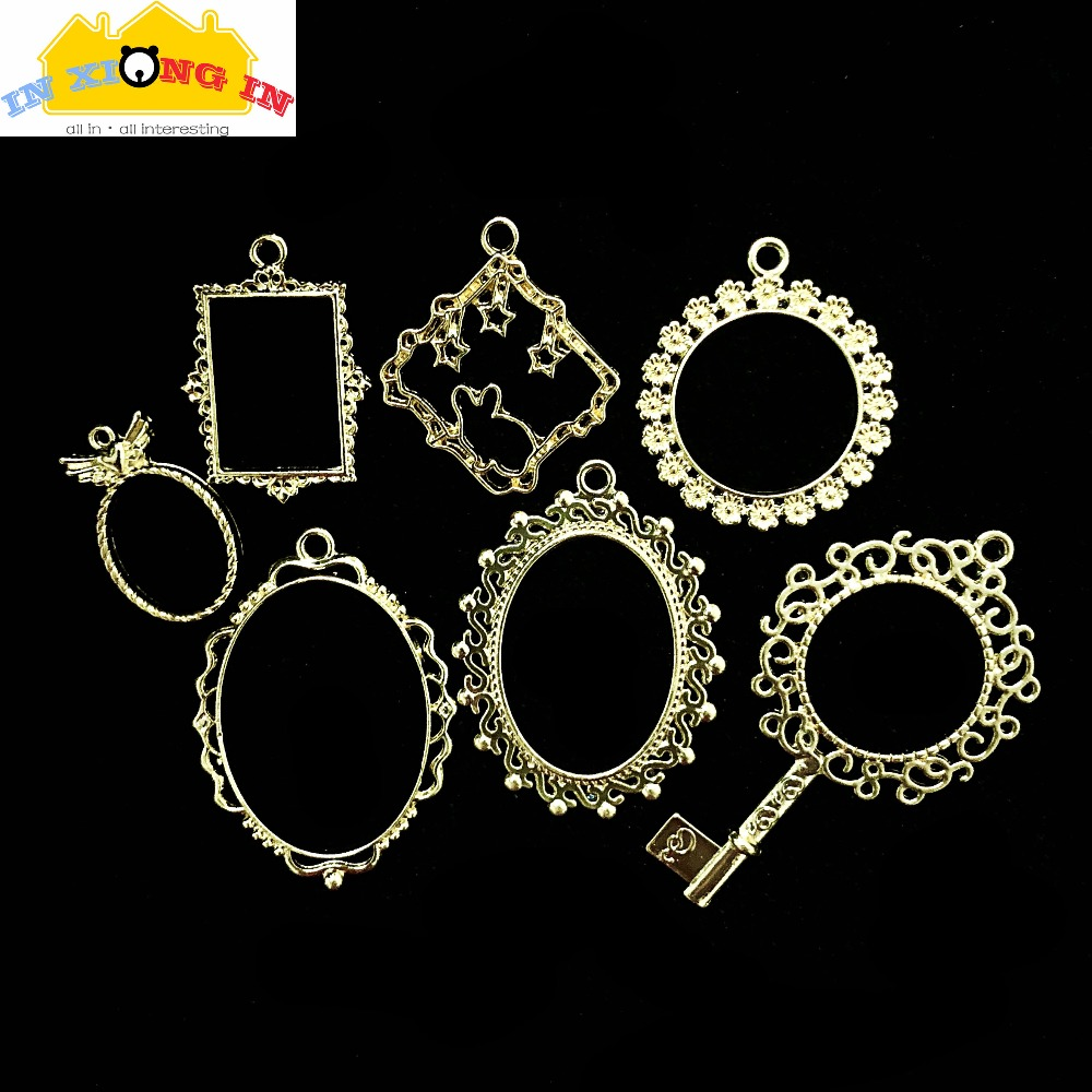 Vintage Oval Lace Open Bezels Charms DIY Resin Craft Accessories Square Round Metal Mirror Pendant Jewelry Hollow Frame vase