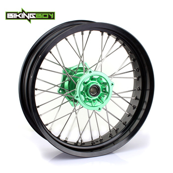 "BIKINGBOY 17"" X 4.25"" MX Supermoto Rear Wheel Rim Hub 36 Spokes for Kawasaki KX 125 250 06-13 KX-F 250 450 06-17 KLX 450 2007-13"