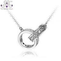 Настоящее чистое серебро 925 пробы, два элегантных кольца, кубический цирконий, очаровательная подвеска, ожерелье для женщин, девушек, модное...