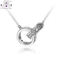 Genuine 925 Pure Sterling Silver Elegant Two Twin Circle Cubic Zirconia Charms Pendant Necklace For Women Lady Fashion Jewelry