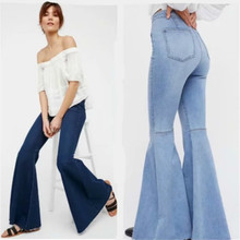 Women Jean Pants Loose Flare Pants Sexy 2018 Summer Europe and America Style Plus Size Trousers for Ladies and Girls