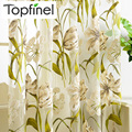 Top Finel Tropical Floral Print Semi Sheer Curtains for Living Room Bedroom Kitchen Printed Flower Window Curtains Tulle